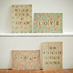 you can take the fabric wrapped canvas one step further - great for a kids room!