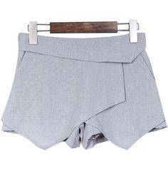 Grey High Waist Asymmetrical Split Skirt Shorts US$32.00
