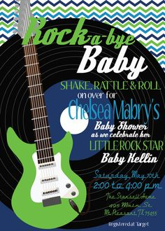 ROCK a bye BABY Shower ROCKSTAR Rock and Roll Shake by MolsDesigns