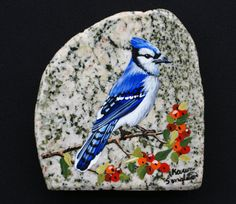 Handpainted+Blue+Jay+by+PrecambrianTreasures+on+Etsy,+$85.00