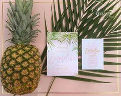 Tropical Palm Leaf Bridal Shower Invitations // Pink, Palms, Tropical, Summer // Invitations & Design by Coconut Press Pink Invitations, Bridal Shower Invitations, Invitation Design, Boutique Design, Personalized Stationery, Palms, Wedding Events, Identity, Coconut