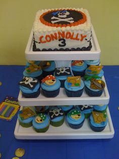Connolly's 3rd Birthday- Pirate Cupcake Tower