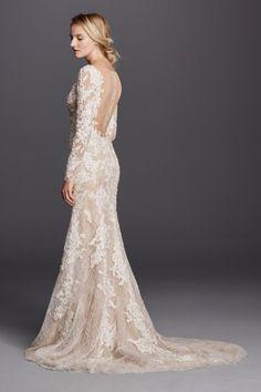 this-back. David's Bridal. Long Sleeve Sheath with Illusion V-Neckline