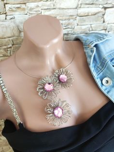 Open statement flowers necklace Handmade jewelry Christmas gift for her