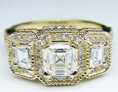 Asscher Cut Diamond Vintage Style Engagement Ring Setting with Trapezoids in Yellow Gold - ES240ACYG