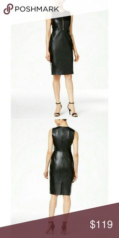 New! Calvin Klein Faux Leather Zipper Sheath Dress Power through hours at the office (and beyond) in Calvin Klein's edgy faux-leather sheath dress with zip-front detail.  Brand New With Tags   Gold-tone front zip with logo ring pull  Round neckline  Back zip closure  Sleeveless  Back vent slit  Faux leather  Dry clean  Retails for $159 Calvin Klein Dresses
