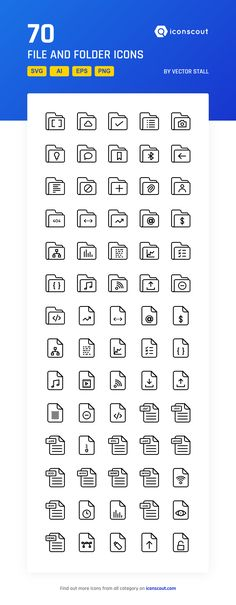 File And Folder  Icon Pack - 70 Line Icons