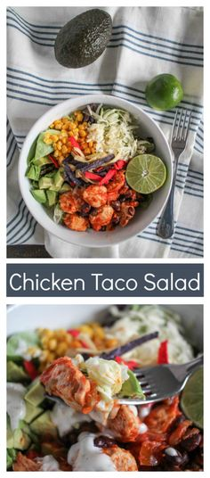Say no to sad salads. Make this delicious chiken taco salad instead. It is made with flavorful chicken with taco seasoning, beans, corn, cheese, avocado, and lime.