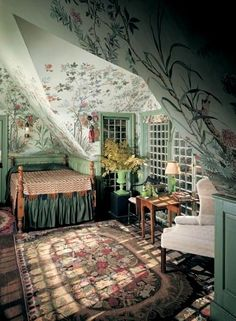Guide to Wallpaper In a bedroom under the eaves at Beauport, Charles Sleepers' eclectic-fantasy-on-a-colonial-theme house in Gloucester, Massachusetts, a Chinoise tapestry paper hovers over the spool bed. (Photo: David Bohl/Historic New England) Dream Rooms, Dream Bedroom, Fantasy Bedroom, Fairytale Bedroom, Magical Bedroom, Bedroom Black, My New Room, My Room, Creation Deco