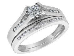 Princess Cut Diamond Engagement Ring & Wedding Band Set 1/2 Carat (ctw) in 10K White Gold
