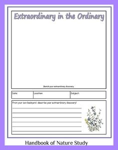 Extraordinary in the Ordinary; nature study/journal notebook page button by HarmonyArtMom, via Flickr