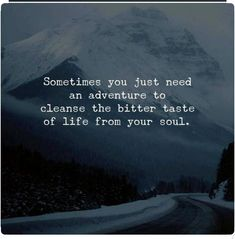 Sometimes You just Need An Adventure to Cleanse the Bitter Taste of Life From Your Soul quote is part of Adventure quotes - Motivational Quotes, Funny Quotes, Inspirational Quotes, True Quotes, Qoutes, Great Quotes, Quotes To Live By, Super Quotes, Wisdom Quotes