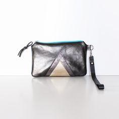 Metallic Leather Wristlet // Art Deco Purse // by gmaloudesigns