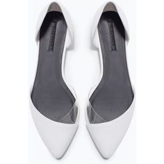 Zara Vinyl D'orsay Shoes featuring polyvore, fashion, shoes, flats, zara, clothing, white, d'orsay shoes, dorsay shoes, white flat shoes, flat heel shoes and zara flats