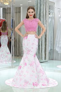 Prom Dresses For Teens, Elegant Two Piece Prom Dress,Pink Mermaid Cap Sleeves Long Floral Prom Dress,Open Back Long Evening Dresses Dresses Modest Pageant Dresses For Teens, 2 Piece Homecoming Dresses, Floral Prom Dresses, Dresses Elegant, Elegant Bridesmaid Dresses, Open Back Prom Dresses, Prom Dress Stores, Mermaid Prom Dresses, Graduation Dresses
