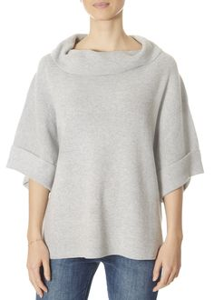 This is the Grey Oversized Cowl Neck Cropped Sweater Top by stunning brand 525 America. Wear as a cowl or slide off the shoulder. America Outfit, 525 America, Leopard Dress, Striped Shorts, Cropped Sweater, Yellow Dress, Sweater Weather, Cowl Neck, Pullover