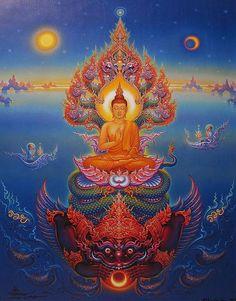 Buddha over Rahu, thai painting