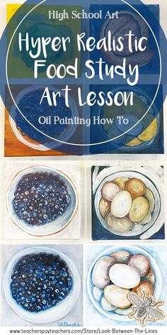 This advanced high school art lesson focuses on using oil paint to create hyper realistic food studies. It's perfect for advanced level art or AP art. Painting Courses, Painting Lessons, Art Lessons, Food Studies, Art Studies, Realistic Oil Painting, Painting Art, Paintings, Ap Drawing