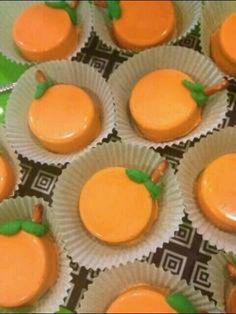 Chocolate covered oreo pumpkins