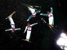 (Multiple exposures were combined in camera to produce this image.) David Morris of Australia practices ahead of the Freestyle Skiing Men's Aerials Finals