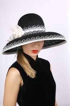 amazing black wide brim derby hat by Irina Sardareva Couture Millinery