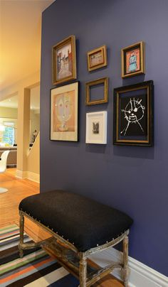 Accent foyer wall (Farrow & Ball Pitch Blue) complete with children's art wall - Hamilton Spectator Farrow Ball, Colorful Decor, Colorful Interiors, Interior Design Inspiration, Room Inspiration, Dining Room Furniture, Home Furniture, Dining Room Colors, Lounge Decor