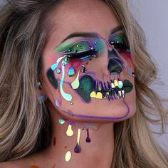 Holographic Tears Skull Customised holographic tears for @face_lace • Eyeshadows @sugarpill pressed eyeshadows in 'Acid Berry', 'Mochi' 'Frostine' 'Tako', @urbandecaycosmetics eyeliner 'Freak' and Eyeshafow Primer Potion in 'Eden', Lashes from @powderandpaint_mua • Skull outline in @stilacosmetics in 'Olive' and @nyxcosmetics_uk @nyxcosmetics NYX Vivid Brights Coloured Liquid Liner in 'Vivid Blossom', • Skin: @maccosmeticsuk @maccosmetics Studio Sculpt Foundation in NW25, @makeupforever...
