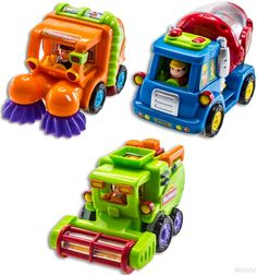 WolVol (Set of 3 Push and Go Friction Powered Car Toys for Boys - Street Sweeper Truck, Cement Mixer Truck, Harvester Toy Truck (Cars Have Automatic Functions) - Epic Kids Toys Toy Cars For Toddlers, Toddler Toys, Toys For Boys, Gifts For Boys, Baby Toys, Kids Toys, Toddler Gifts, Sweeper Truck, Cement Mixer Truck