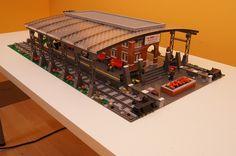 Brickyard Station | Flickr - Photo Sharing! Lego Train Station, Lego City Train, Lego Trains, Lego Design, Modular Design, Gare Lego, Lego Plane, Lego Boards, Lego Pictures