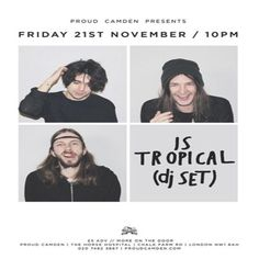 Is Tropical (Dj Set) at Proud Camden, The Horse Hospital, The Stables Market, Chalk Farm Rd, London, NW1 8AH, UK. On Nov 21, 2014 to Nov 22, 2014, at 10:00 pm to 2:00 am, Is Tropical formed in 2009 and we are very pleased to have them come and splurge their greatest tracks and sounds from the years all over the Camdenites at Proud. Category: Nightlife  Price: Advance £4  Artists: Is Tropical