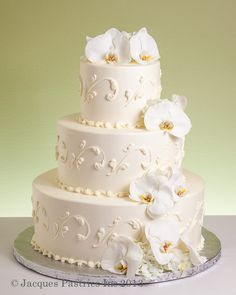 white orchid wedding cake - Google Search