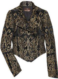 ShopStyle: Roberto Cavalli Metallic brocade cropped jacket