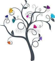 vecteur série - dessin d'arbre à fleurs multicolores vectoriel - arbre de vie