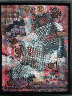 Corked by Lea Sevcov  encaustic collage wine lover art inspired by a great winery in New Westminster Pacific Breeze