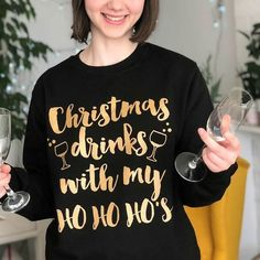 Funny Christmas Jumper Christmas Drinks With My Ho Ho's by Kelly Connor Designs, the perfect gift for Explore more unique gifts in our curated marketplace. Funny Christmas Jumper, Womens Christmas Jumper, Funny Christmas Outfits, Ugly Xmas Sweater, Cosy Christmas, Christmas Night, Christmas Jumpers, Christmas Drinks, Christmas Shirts