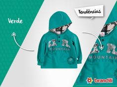 Moletom verde infantil - a cor do inverno 2015 #temqueter #lookbrandili