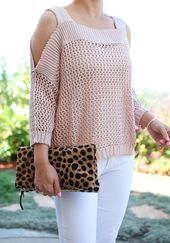Sweaters Blush pink Cold Shoulder Knit Sweater, Leopard foldover clutch, white jeans, petite fashion, Fall neutral outfits - click the photo for outfit details! Lace Sweater, Burgundy Sweater, Knit Lace, Leopard Sweater, Foldover Clutch, Fashion Salon, Fall Fashion Petite, Moda Petite, Pullover Jacket