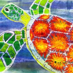 For the Love of Art: Grade: Sea Turtles. She is a special needs/elementary art teacher. Life skills students learn best, when making art while they are learning. Sea Turtle Art, Sea Turtles, Third Grade Art, Grade 3, 3rd Grade Art Lesson, Ecole Art, Pastel Art, Pastel Watercolor, Watercolor Paintings