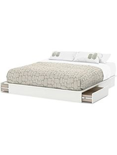 South Shore Step One Platform Bed with Drawers, King, Pure White ❤ South Shore