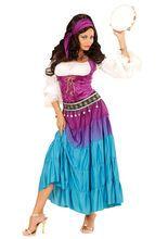 Geheimnisvolle Wahrsagerin Damenkostüm Zigeunerin Übergrösse lila-weiss-hellblau