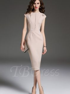 Apricot Single-Breasted Cap Sleeve Women's Sheath Dress - m.tbdress.com