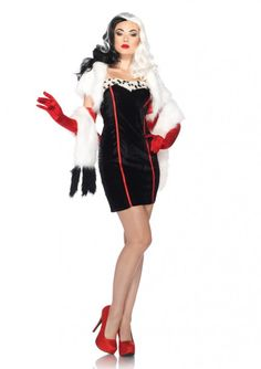 4 PC. Cruella, includes fur trimmed dress, bolero, optional clear straps, and matching furry wrap. - licensed