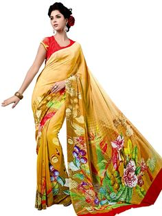 Glamorous yellow color floral print #Georgette #Saree is absolutely exclusive.  Item Code: SUL14035 http://www.bharatplaza.com/new-arrivals/sarees.html