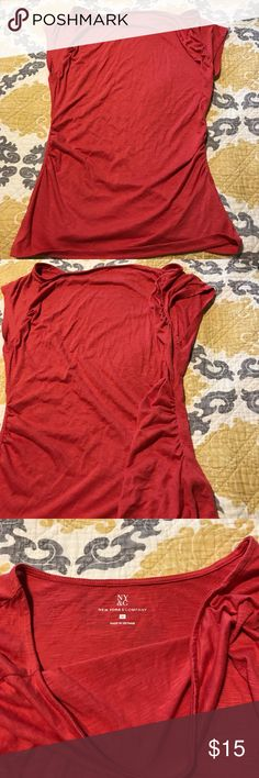 New York & Company shirt Like new worn a couple times New York & Company red shirt. Size medium. Is cinched on the sides and the top of the arms. Is not a maternity shirt. Is a thin and light shirt. In good condition. New York & Company Tops Tunics