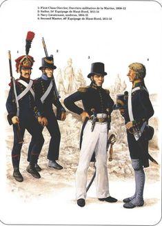 Napoleon's Sea Soldiers 1-First Class Ouvrier militaires de la Marine 1808-12 2-Sailor, 34e Equipage de Haut-bord 1811-14 3-Navy Lieutenant undress, 1804-15 4-Second Master, 46e Equipage de Haut-Bord 1811-14