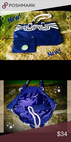"""3 Piece Tote Set. 😉 Wow!  You get a great-looking tote, so roomy you can put all your necessities, plus your un necessities too.  Stylistically speaking, this goes with everything. The nautical theme is """"in"""".  Plus you get a zippered makeup case and a mirror too. Bags Totes"""