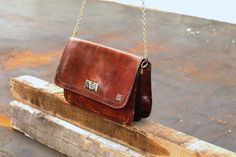 Leather bag with chain strap by Troll2Treasure on Etsy