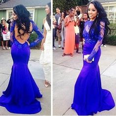 Elegant Long Royal Blue Lace Full Sleeve Mermaid Prom Dresses Party Evening Gown Formal High Neck Open Back Dress Custom