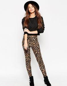 ASOS High Waist Leggings in Leopard Print