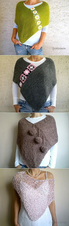 This hand knit ponchos is embellished with crochet flowers. It keeps you warm in autumn/ winter season. And I dont have tutorials or crochet schema. Because they are selling from a website you can check that website at the bottom of page.